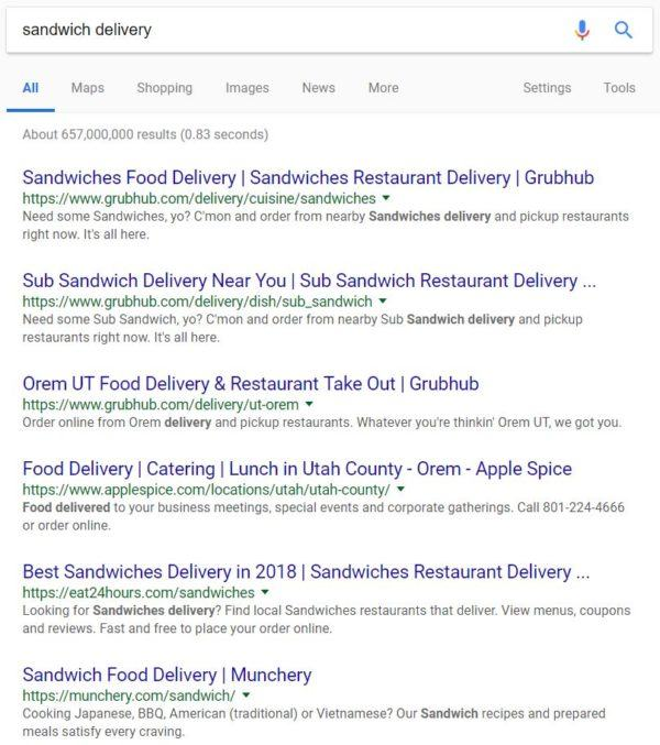 Google AdWords Example: Sandwich Delivery Ads | Disruptive Advertising