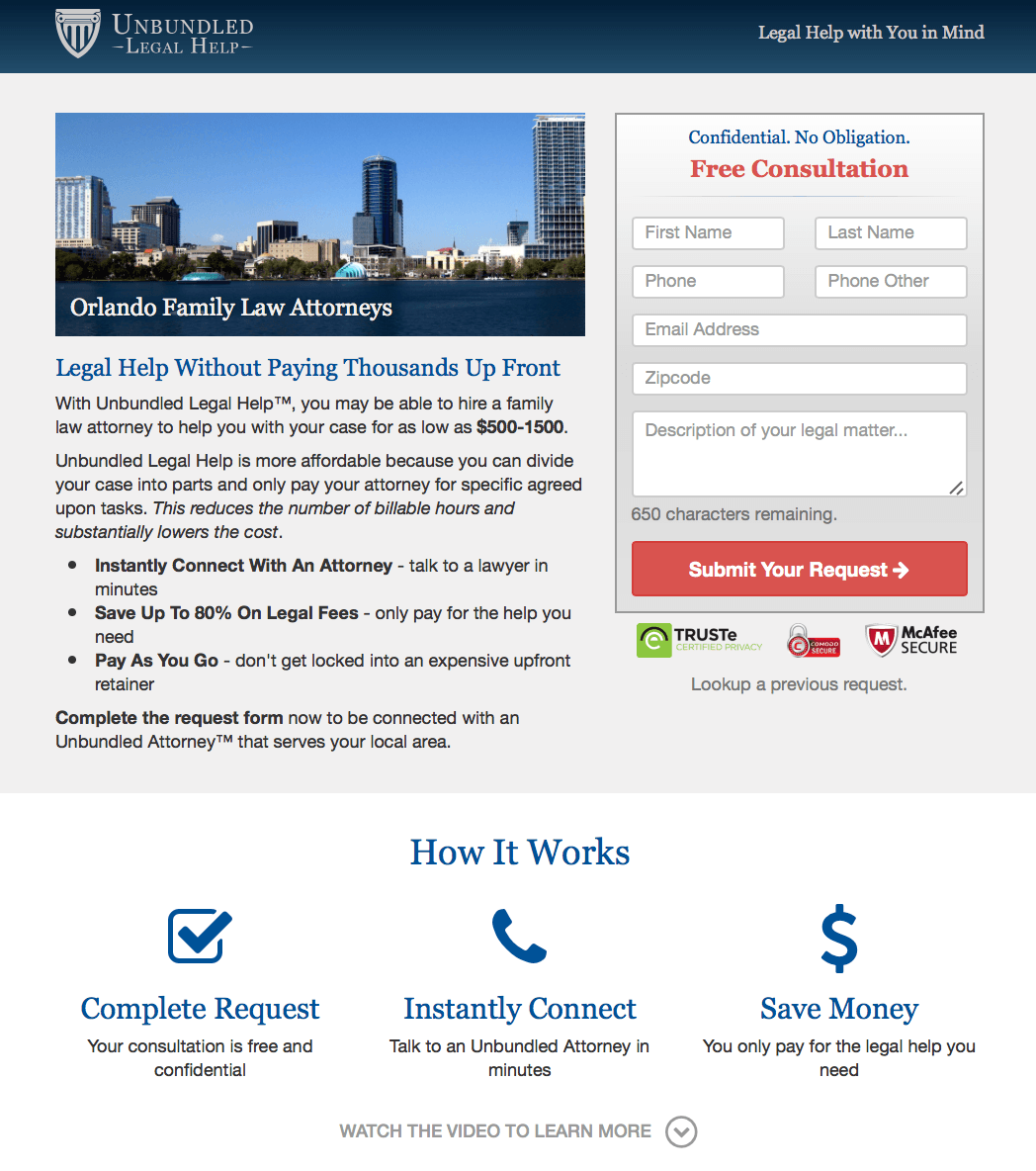law firm landing pages