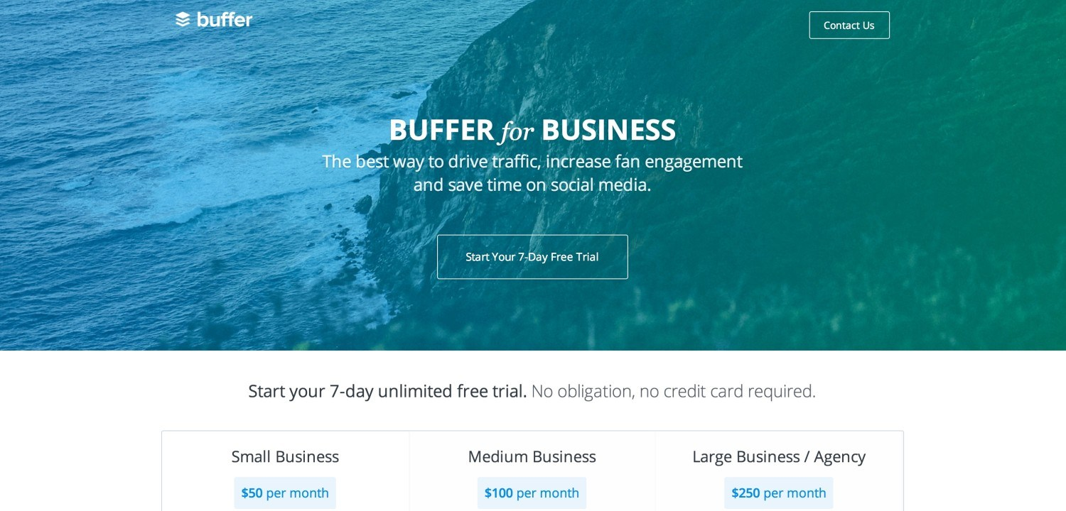 Buffer's homepage looks great! (although the CTA button could stand out more if it were a landing page)
