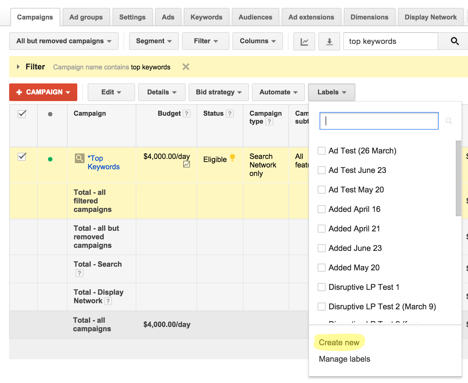 Create Label in AdWords