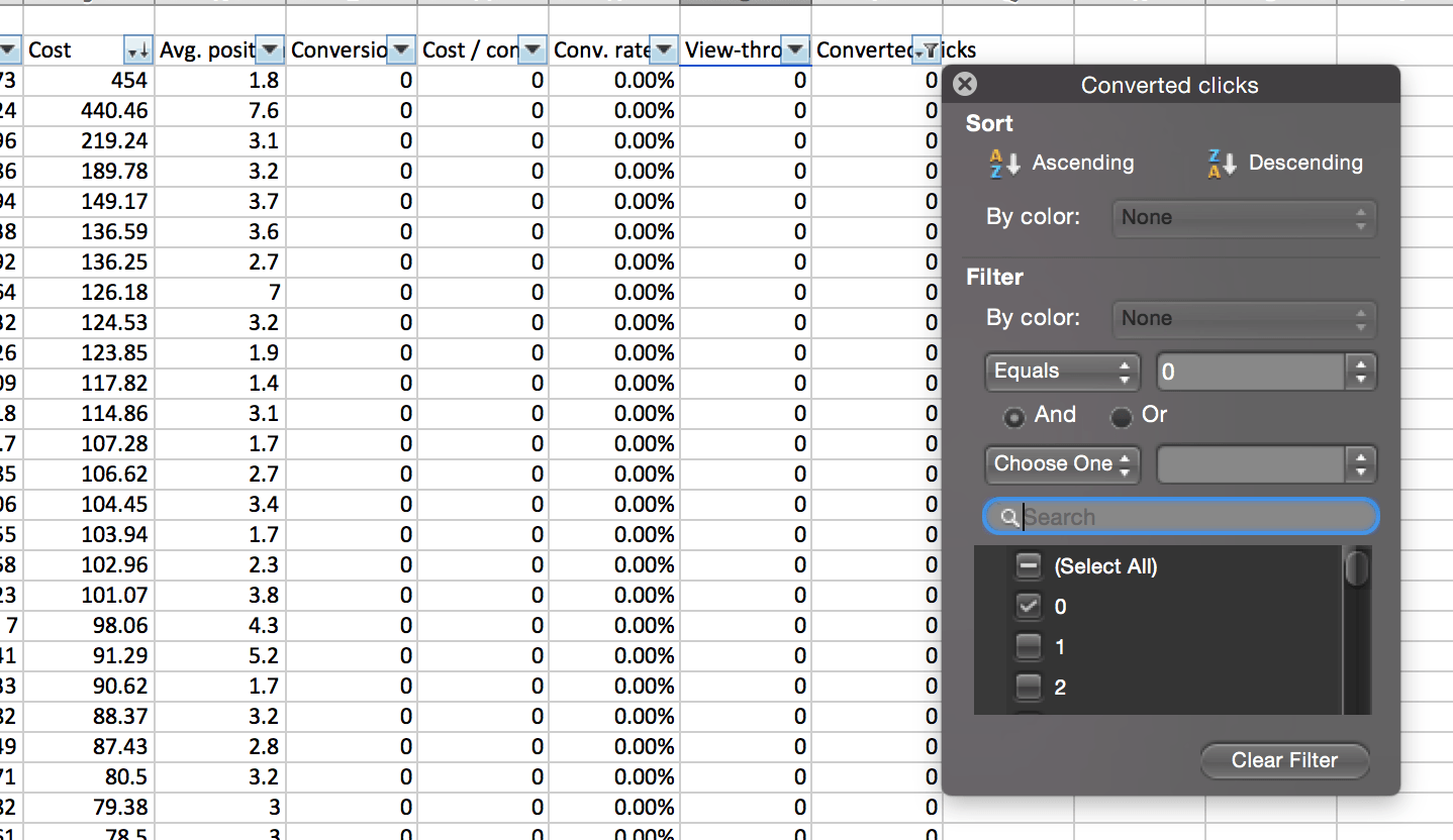 Filtering for Zero Conversions in Excel and totaling associated Cost