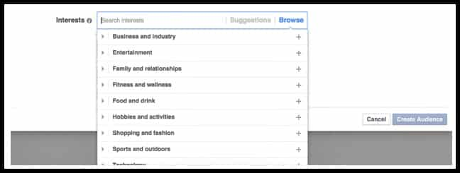 Interests setting