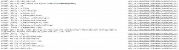 Adobe DTM Debugger Console Notifications