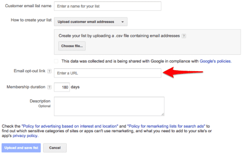 Email opt-out link