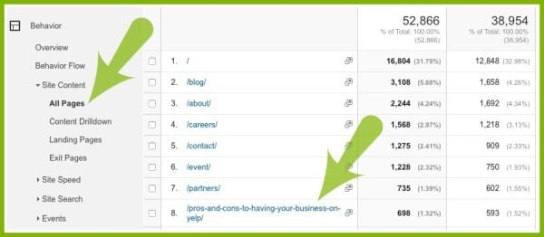 Google Analytics Site Content | Disruptive Advertising