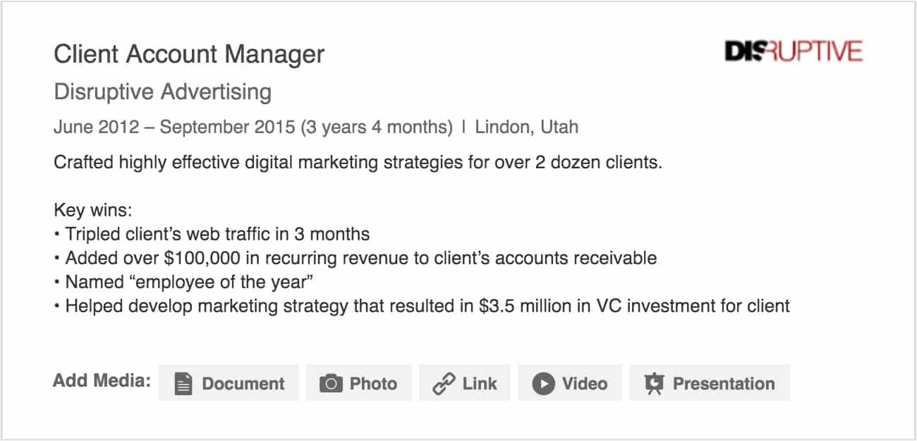 LinkedIn Job Experience Example   Disruptive Advertising