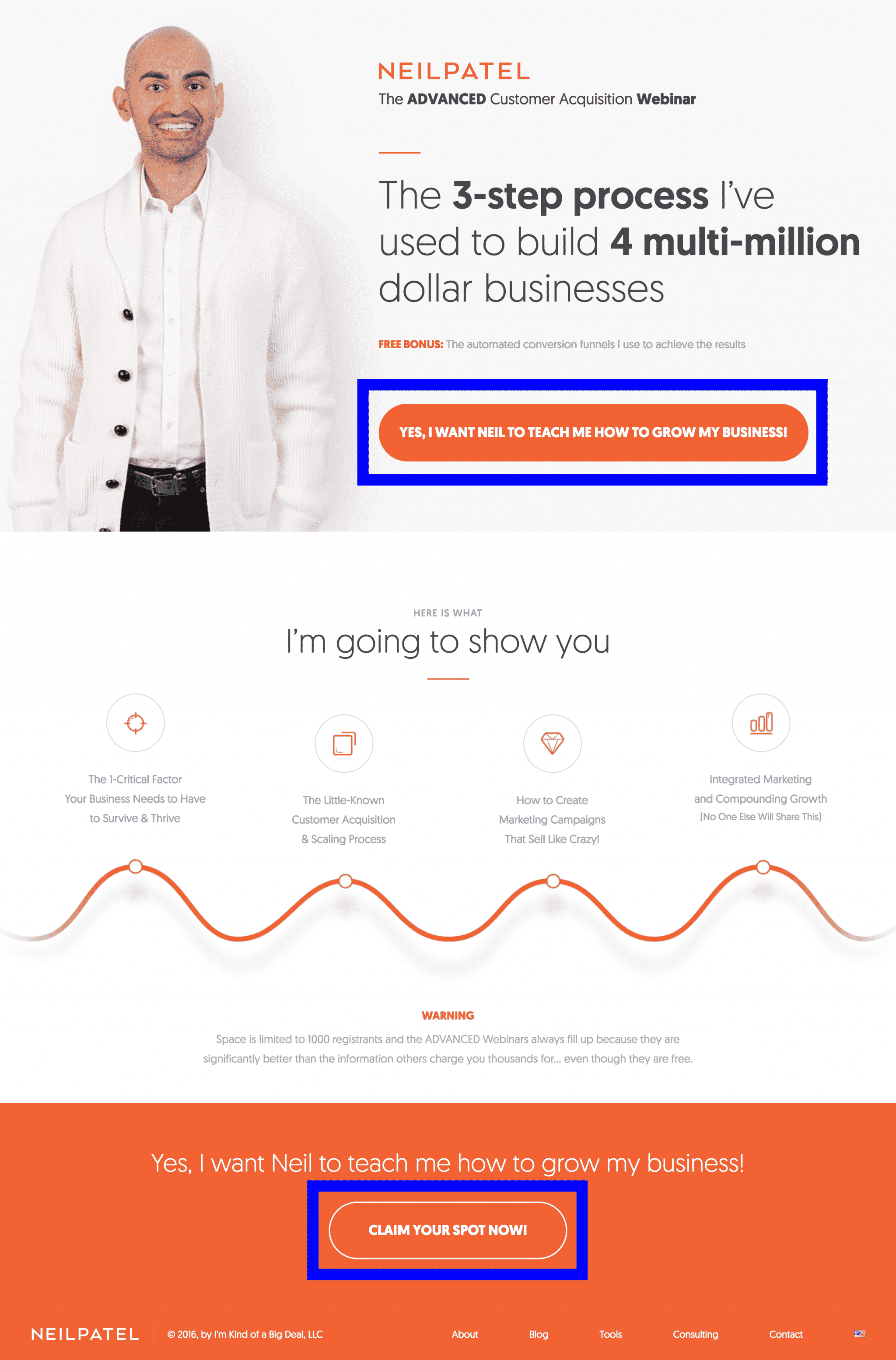 Neil Patel's Landing Page Call-to-Action | Disruptive Advertising