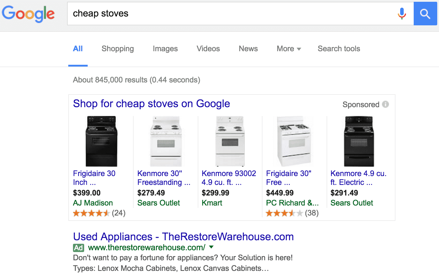 Cheap Stoves Search Results | Disruptive Advertising