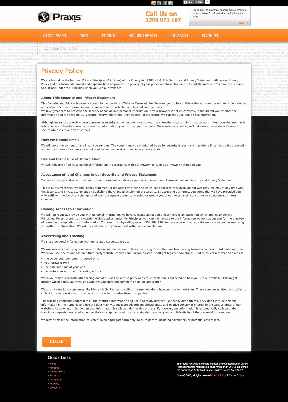 Lightbox Privacy Policy Screenshot   Disruptive Advertising
