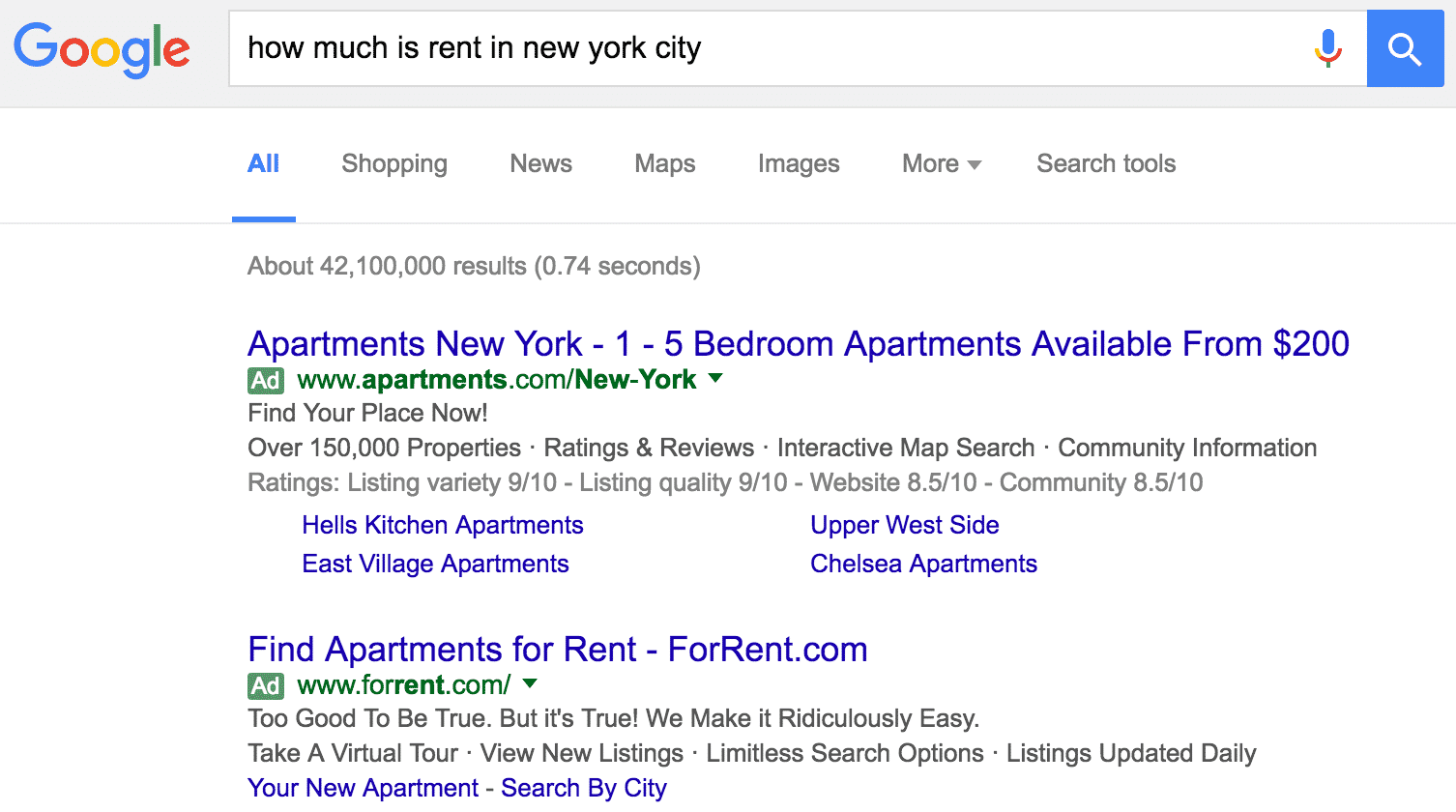 Rent in New York City Paid Search Ads | Disruptive Advertising