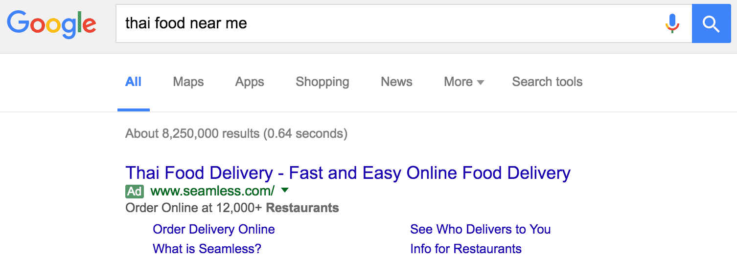 Thai Food Paid Search Ads | Disruptive Advertising