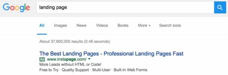 Instapage Google AdWords Ad | Disruptive Advertising