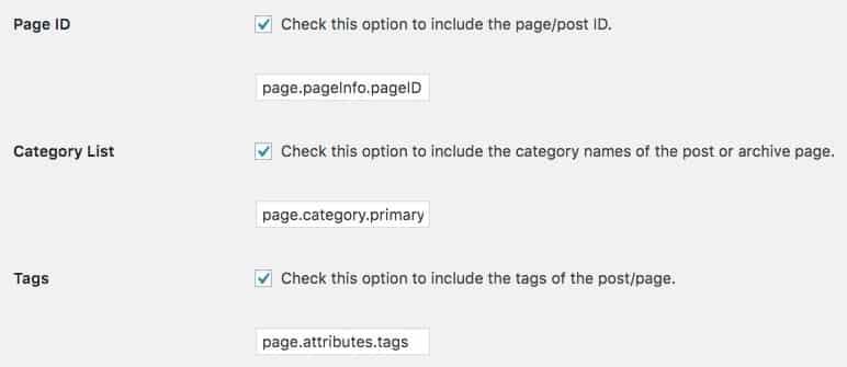 wordpress data layer configuration