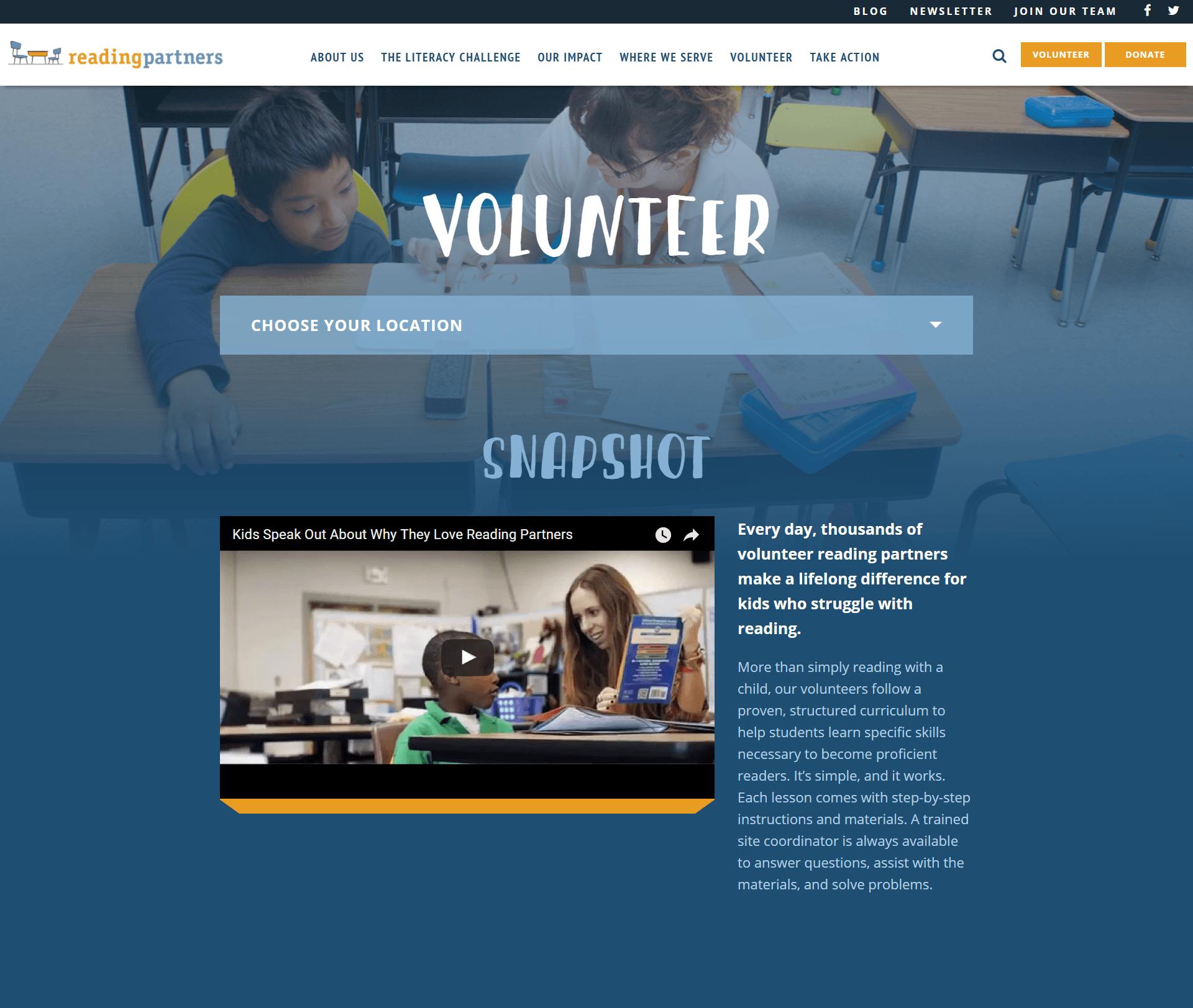 Reading Partners Nonprofit Website | Disruptive Advertising