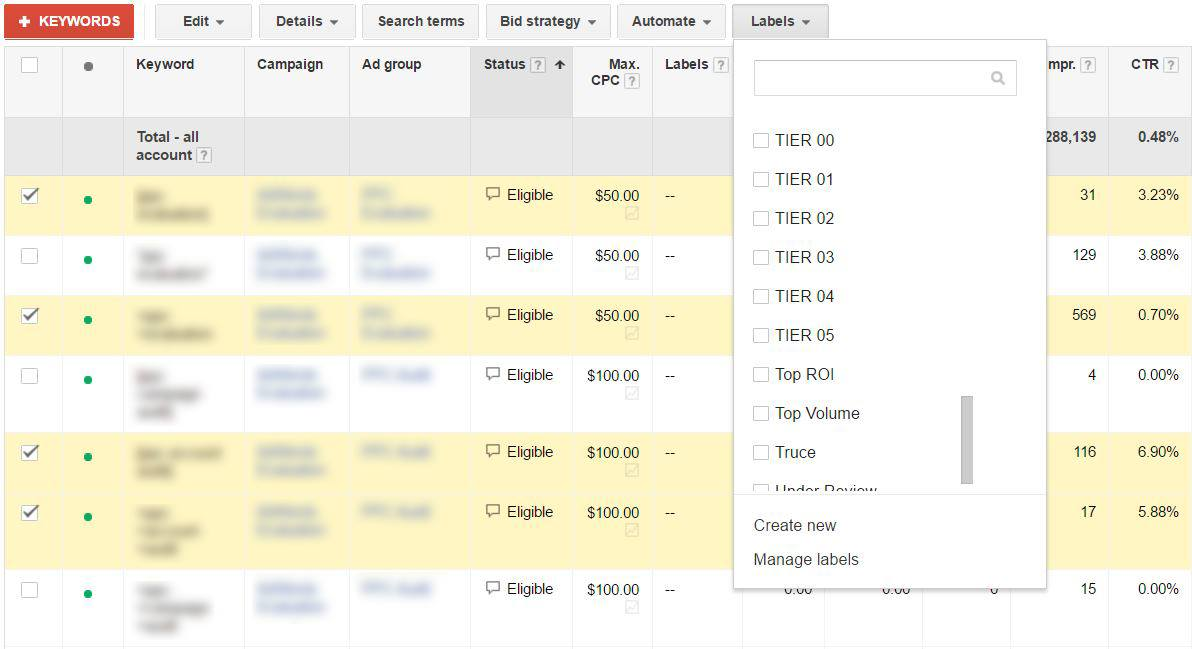 Adding Keyword Tiering Labels to Your Keywords | Disruptive Advertising