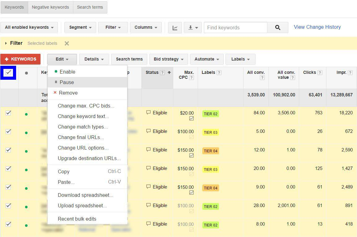Turning Off Your Keyword Tiers   Disruptive Advertising