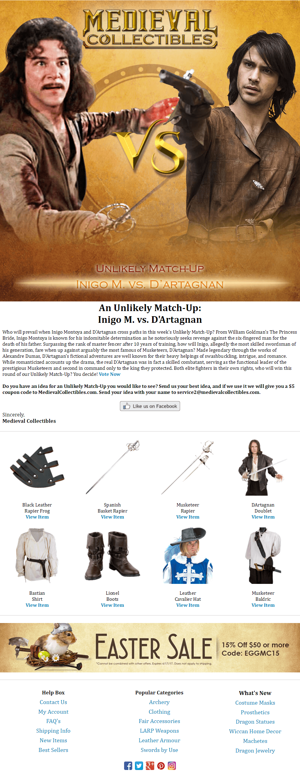 Great Email Marketing: Medieval Collectible's Unlikely Matchups | Disruptive Advertising