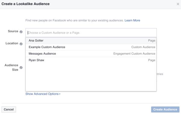 Facebook ads targeting audience segmentation