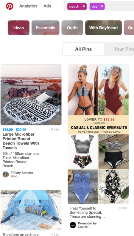 Pinterest's promoted pins searches