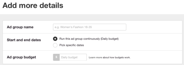pinterest promoted pins ad groups