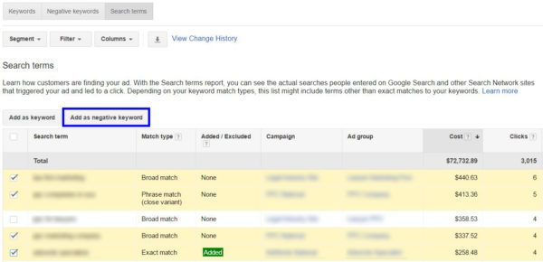 Adding Search Terms to Your Negative Keywords List | Disruptive Advertising