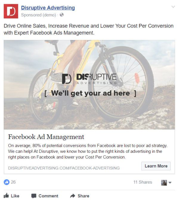 Sample Facebook Lead Ad | Disruptive Advertising