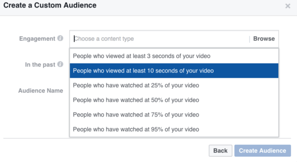 Facebook custom audiences from video views