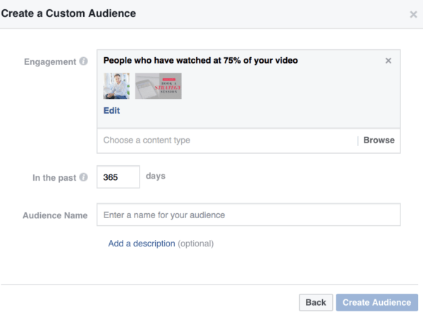 video views Facebook custom audiences