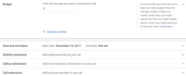Google Adwords campaign creation
