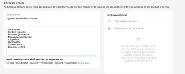 Google Adwords dynamic keyword insertion