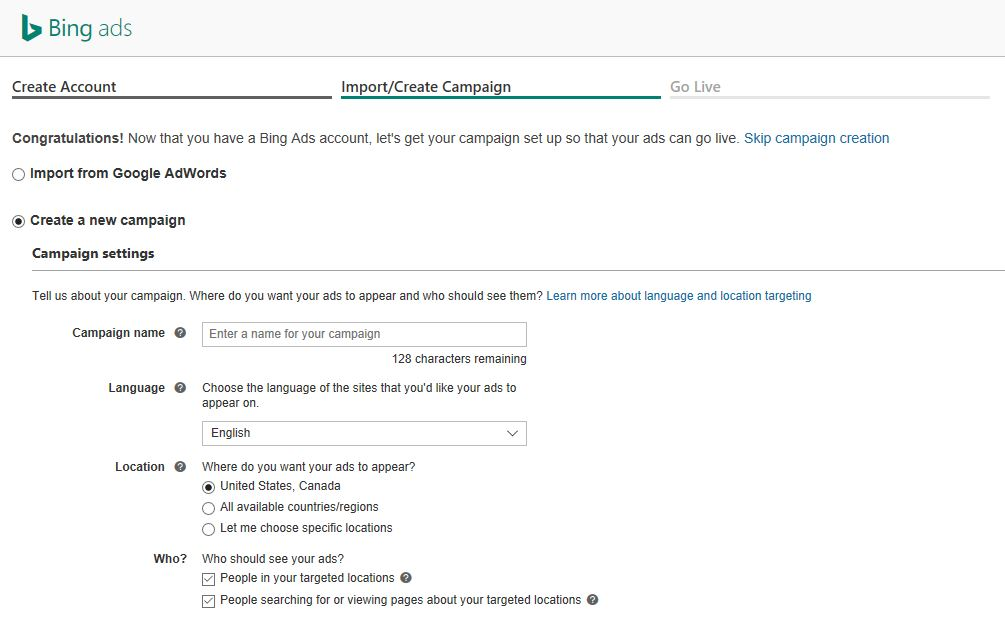 Setting Up a Bing Ads Campaigns   Disruptive Advertising