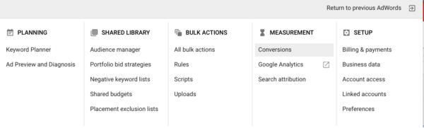 Google AdWords conversion tracking