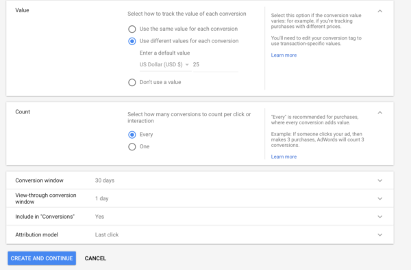 how to track conversions in Google AdWords