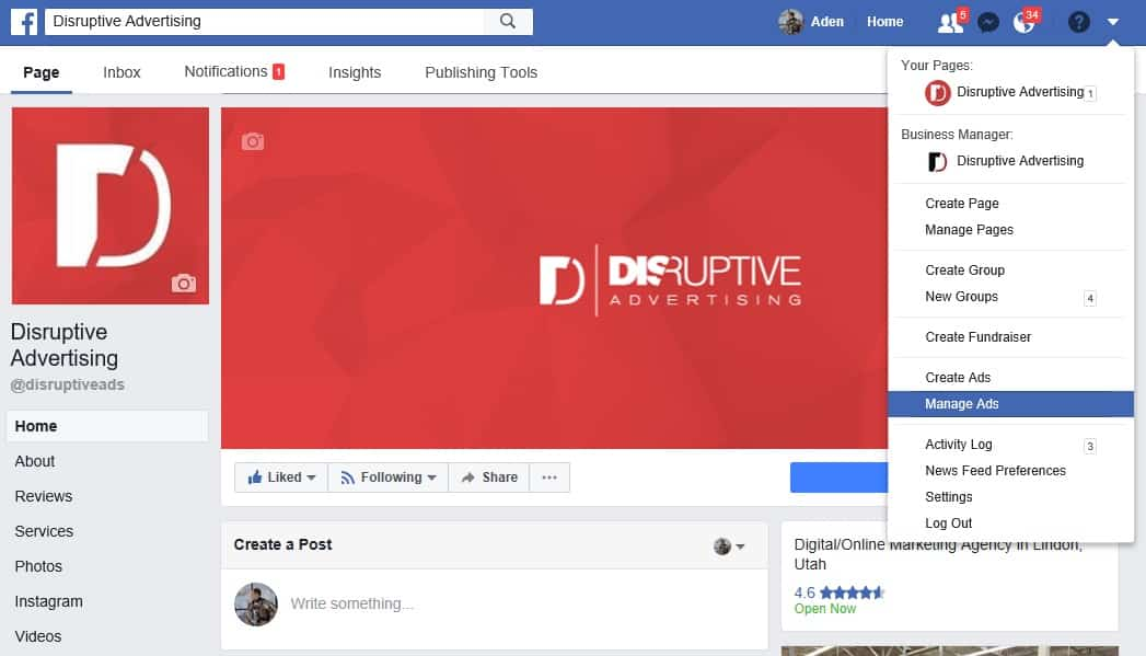 Accessing Facebook Ads Manager   Disruptive Advertising