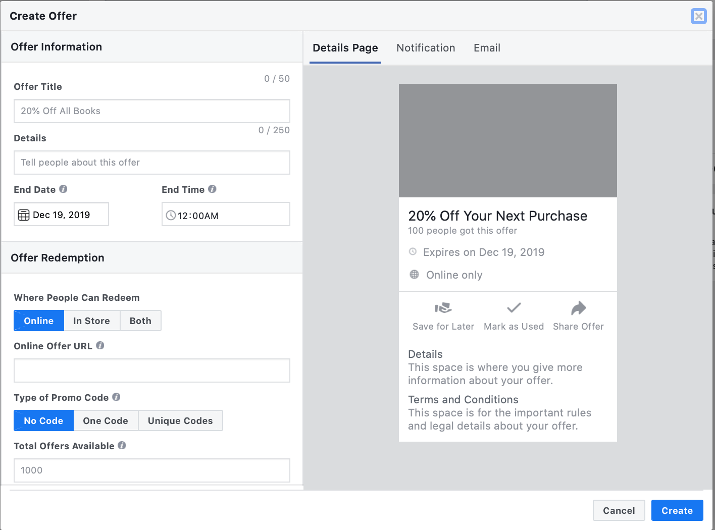 how to limit Facebook Offers